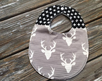 Bib ~ Two Toned/Quilted ~ Woodland//Plus//Tribal//Black//Buck//Forest//Hello, Bear