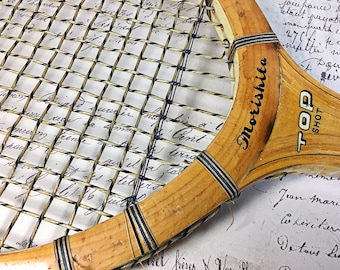 Vintage tennis wooden racquet racket Morishita Top Shot Tokyo Athletic Goods Works sports court
