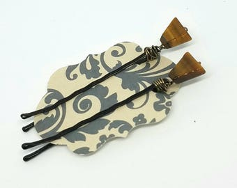 Cute Decorative Hair Pins with Wire Wrapped Tiger's Eye Triangles