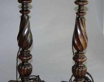 Table Lamps a pair hand carved Rosewood
