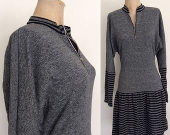 1980's Grey & Black Striped Skater Dress Size Small Medium by Maeberry Vintage