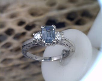 Light Blue Montana Sapphire with Moissanite Side Stones Engagement Ring  Prices May be Reduced with Optional Stones or Metals