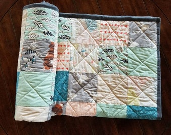 Woodland Patchwork Baby Quilt, Gender Neutral, Baby Shower Gift, Minky