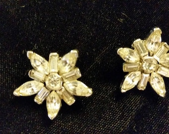 Clip-On Floral by Star Earrings Rhinestone Vintage Mid Century No Defects