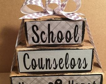 School counselor block set, counselor gift, school counselor, heart, gray chevron
