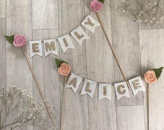 Name cake topper personalised felt flower and gold glitter writing