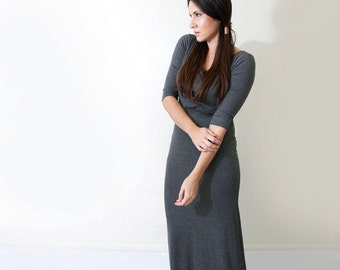 Maxi Dress | Quarter Sleeve | Jersey Women's Dresses | Tall Length | Petite Dress | Made in our loft | L415 & Co Clothing (#415-949)