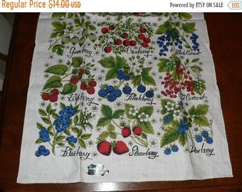 ON SALE Vintage Kay Dee Linen Print Berries Towel- New with Tag