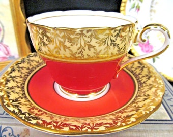 AYNSLEY tea cup and saucer orange & gold gilt pattern corset teacup