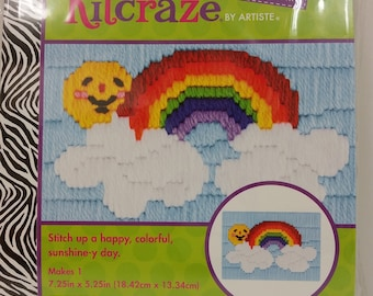 "Artiste Kitcraze Mini Long Stitch ""Rainbow"" Picture Kit # HL249773for Kids ages 8+, 7.25in x 5.25in (18.42cm x 13.34cm)"