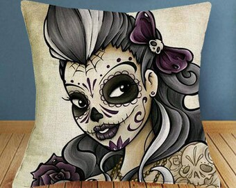 Day of the Dead Sugar Skull Pillow Case Dia de los Muertos Pillow
