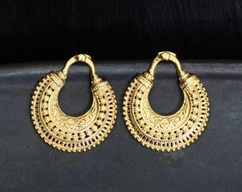 Gold Stud Earrings, Gold Filigree Earrings, Intricate Earrings, Detailed Earrings, Gold Vermeil Post Earrings