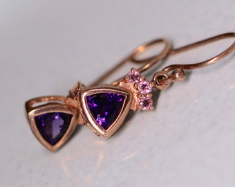 Amethyst Rose Gold Earrings with Pink Tourmalines - Rose Gold over Sterling Silver Elegant Trillion Earrings