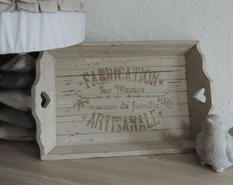 """Country rustic rectangle tray """"Fabrication Artisanale"""""""