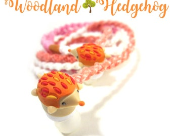 Kawaii Headphones - Woodland Critter Hedgehog Kitschy Wrapped Tangle Free Earbuds - iPhone Headphones, Android Earphones - Cute Teen Gift
