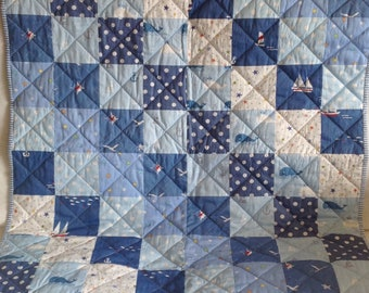 Quilted patchwork baby blanket- nautical