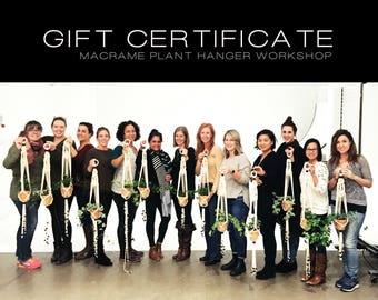 GIFT CERTIFICATE| Macrame Plant Hanger Workshop