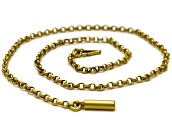 Antique Victorian gold plated belcher chain choker necklace