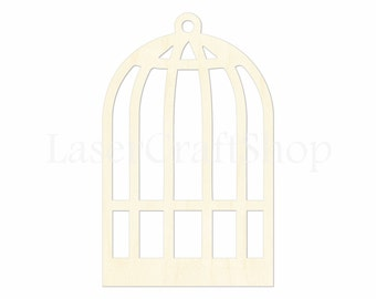 """2"""" - 34"""" Bird Cage Cutout Shape, Silhouette, Gift Tags Ornaments, Room Decoration, Laser Cut Birch Wood,  #1628"""