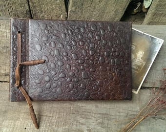 Vintage Genuine Brown Leather Photo Album, Old Collectible Album Pictures from 1970 s, Vintage Photos Cover