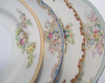 Vintage Mismatched China Dessert Plates, Bread Plates for Tea Party, Bridal Luncheon, Wedding, Shower, Shabby, Bridesmaid Gift-Set of 4