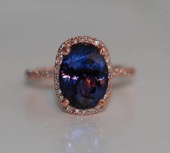 Tanzanite engagement Ring. Rose Gold Engagement Ring Indigo Blue Tanzanite cushion cut halo engagement ring 14k rose gold ring