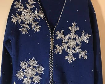 Hand Crafted and Beaded BellePointe Vintage 1980's Tacky Ugly Christmas Sweater with Snow Flakes and Zipper Size-S
