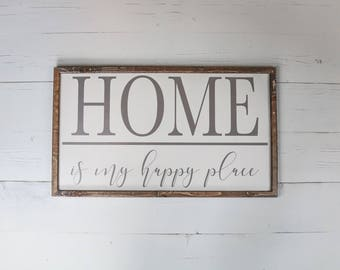 Home Sweet Home Wood Sign, Home Sweet Home Sign,  Home Is My Happy Place Sign