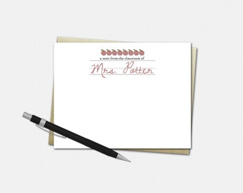 Custom Teacher Note Cards - Personalized Notecards for Teachers - Flat Note Cards | stationery apples gifts