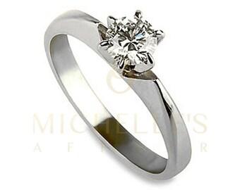 Diamond Anniversary Ring 14 Karat White Gold 0.70 Carat Certified Round Cut D SI1 Women Diamond Ring