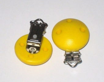 Clip yellow round silicone pacifier clip