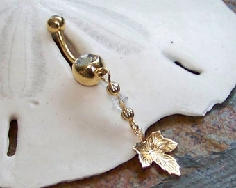Gold Belly Button Ring - Belly Button Jewelry - Gold Maple Leaf Charm - Swarovski Crystal Personalized Birthstone Belly Ring - Made to Order