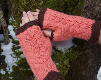 Fingerless mittens/ gloves,  Gift for women, Hand warmers, Arm warmers,  Lace Fingerless Gloves, Merino/ Cashmere gloves.