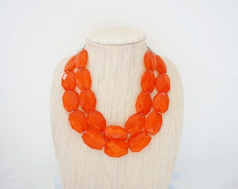 Bright Orange Faceted Bead Statement Necklace