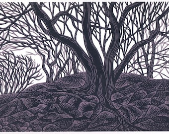 ENTWINED TREES linocut