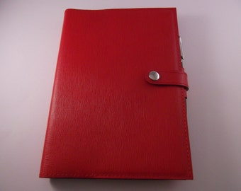 Real Leather Red A5 Notebook Cover/Diary Cover/Journal Cover complete with Notebook.