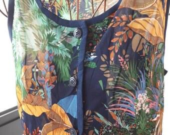 S size Forest print vintage 60s style shift dress