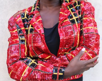 Vintage Sequin Jacket Crop Bolero Plaid Red Black Modi Small Size 6 8 Fitted