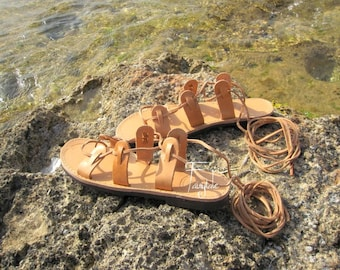 "Ancient Greek Style Leather sandals -Lace up -Unisex greek sandals, authentic leather handmade sandals, stylish sandals - ""Artemis"""
