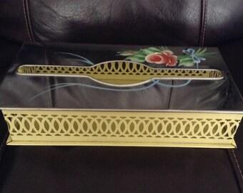Vintage Tissue Box Holder, Silvertone, Metal