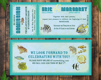 Ocean Wedding Invitation Ticket, Aquarium Invitation Printable, Wedding at Aquarium, Aquarium Party Invitation, Vintage Ticket Invitation