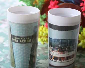 Vintage 1960's Souvenir Tumbler of Port Arthur Tasmania - Historic site and surrounding bay