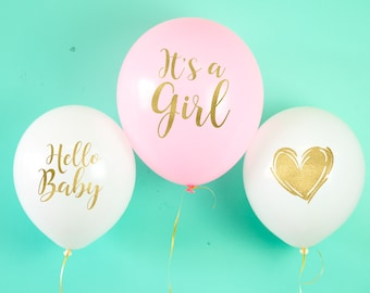 Baby Shower Balloons, Oh Baby Balloons, It's a Girl Balloons, Baby Announcement, Pink Balloons, New Baby Balloons, Baby Girl Shower Decor