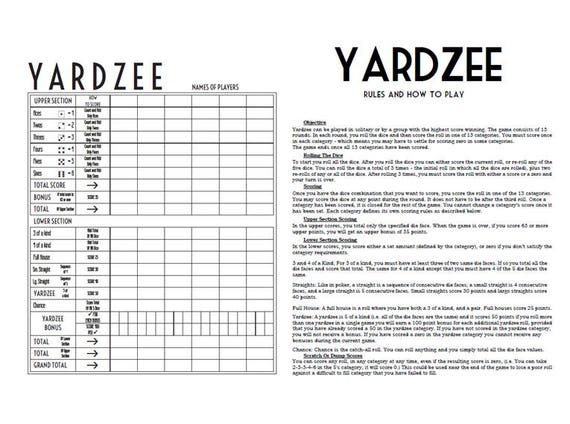 Irresistible image within free printable yardzee rules