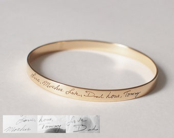 Mother's day Gift / Personalized Handwriting Bangle / Memorial Signature Bangle /  Signature bracelet / Bridesmaid Gift - HB05