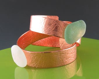 Copper and Sea Glass Napkin Rings - One Pair, Handmade