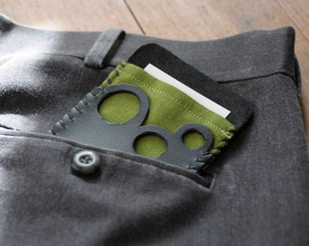 Linen and Leather Card Holder - Olive Green