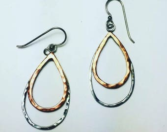 Sterling silver and copper earrings