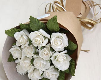 1st Anniversary Gift | Paper Anniversary | Ivory Paper Bouquet