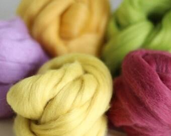 Spring Wool Bundle, Roving, Wool Roving, Needle Felting, Felting Wool, Dyed Roving, Roving Wool, Merino Wool, Needle Felting Kit, Wool